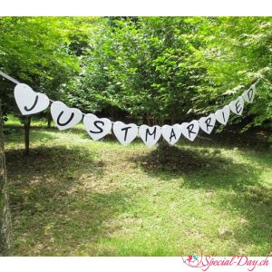 Guirlande Just Married - Coeurs blancs
