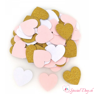 Confettis Coeur - Or Rose Blanc (100 pcs)