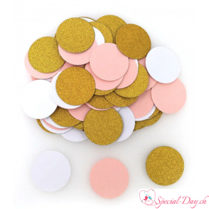 Confettis Rond - Or Rose Blanc (100 pcs)