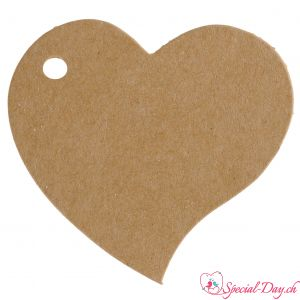 Etiquette coeur - Naturel (10pcs)