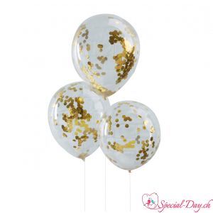Ballons confettis - Or (5pcs)