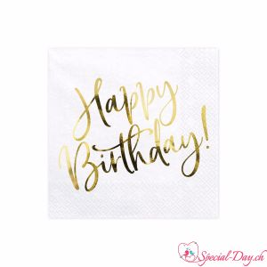 Serviettes Happy Birthday (20pcs) - Or