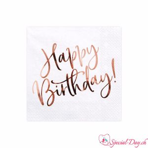 Serviettes Happy Birthday (20pcs) - RoseGold