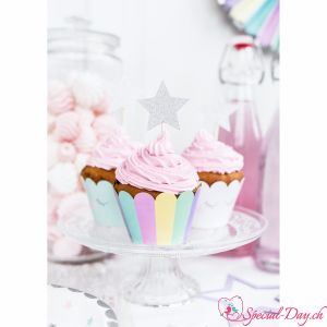 Cupcake-Toppers Sterne Silber