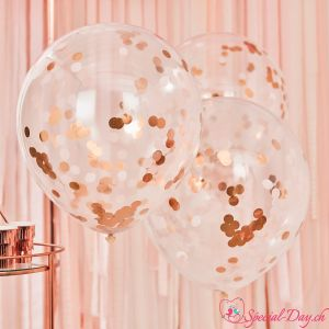 Ballons confetti Rose Gold - 55cm (3 pcs)