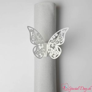 Ronds de serviette - Papillon Blanc (10 pcs)