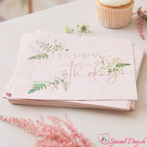 Serviettes Happy Birthday Florales  (16 pcs)