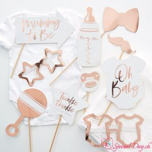 Accessoires PhotoBooth Baby Shower - RoseGold